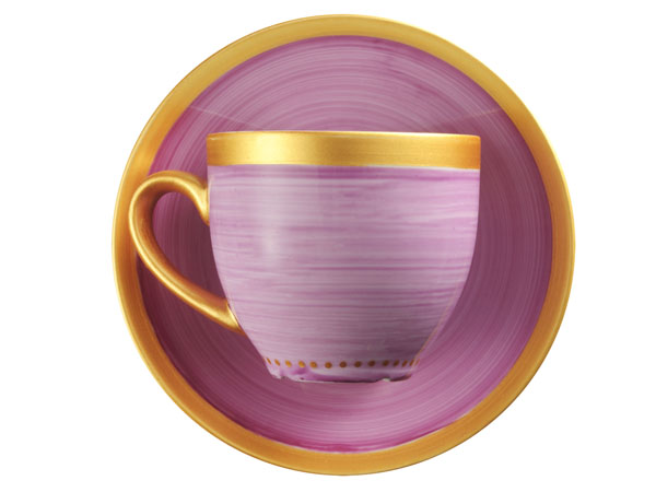 photo of 'Brandani Gift Group: PAIRE TASSE BORD OR LILAS PORCELAINE'