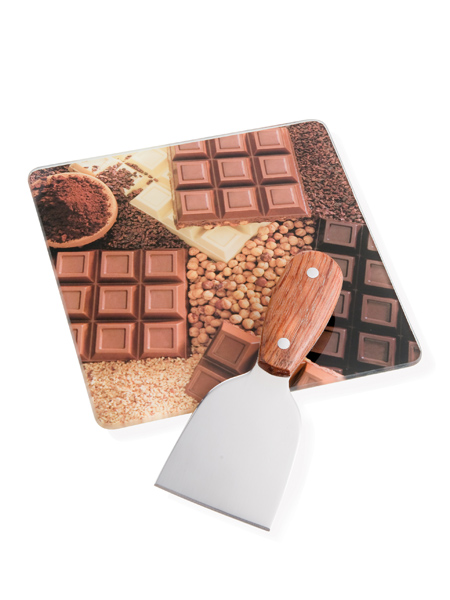 TABLA DE CHOCOLATE VIDRIO C/CUCHILLO INOX