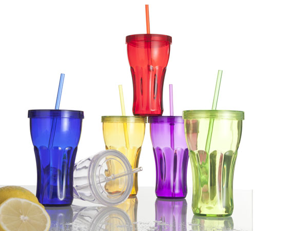 FRESH DRINK GLASS ASSORTED COLOURS 500 ML DISPLAY 12 PCS PVC