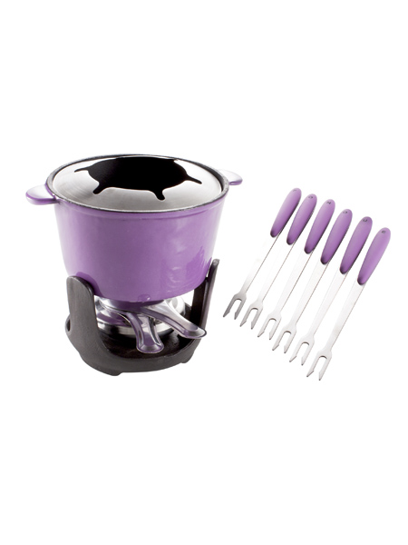 photo of 'Brandani Gift Group: SERVICE A FONDUE LILAS AVEC SUPPORT SET 10 PCS FONTE'