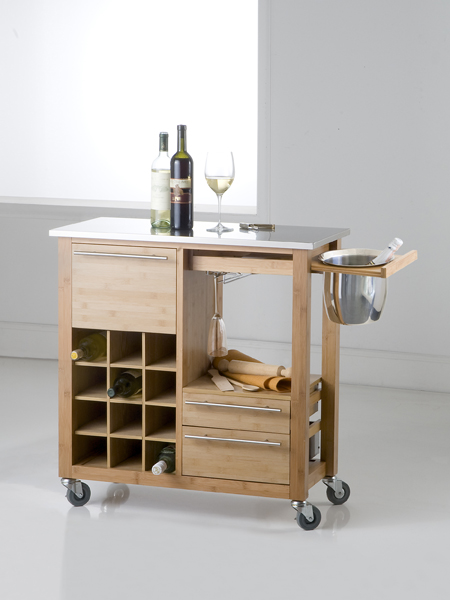 photo of 'Brandani Gift Group: BAMBOO BAR TROLLEY W/CHAMPAGNEHOLDER S/S'