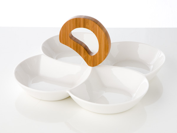 photo of 'Brandani Gift Group: PETISQUEIRA MODELO RONDO DEPORCELANA/BAMBOO COR BRANCO'